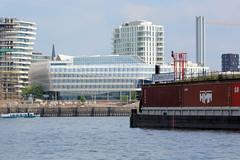 Einfahrt / Schild vom Südwesthafen im Hamburger Stadtteil Kleiner Grasbrook - im Hintergrund Gebäude der Hafencity.