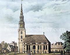 Historische Ansicht der Hamburger St. Michaeliskirche (ca. 1670) - abgebrannt 1750.