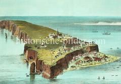 Historische Luftansicht der Insel Helgoland, ca. 1860.