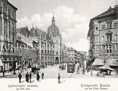 Historisches Foto von Budapest (ca. 1900); Kunstgewerbe Museum - Üllder Straße.