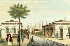 Historische Ansicht vom Hamburger Deichtor um 1840 - im Hintergrund Schiffsmasten vom Oberhafen.