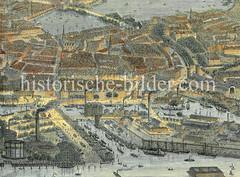 Historische Luftansicht von der Hamburger Altstadt und dem Brook. Im Vordergrund die Norderelbe und die Gasanstalt sowie der Magdeburger Hafen - dahinter der Brootorhafen und Oberhafen, ca. 1880.