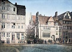 Blick von der Brooksbrücke zur Mattentwiete in der Hamburger Altstadt, ca. 1880.