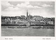 Historisches Foto von Budapest (ca. 1900); Blick über die Donau nach Buda.