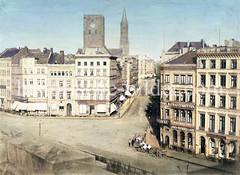 Blick von der Großen Johannisstraße zur Kirchturmruine der Hamburger St. Petrikirche, dahinter der Turm St. Jacobi (ca. 1860).