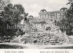 Historisches Foto von Budapest (ca. 1900); Garten Königliche Burg.