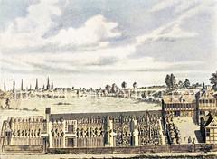 Historische Gartenanlage um 1700 im Hamburger Alster Umland - im Hintergrund sind die Kirchtürme der Hansestadt zu erkennen.