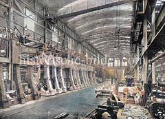 Maschinenhalle von Blohm & Voss in Hamburg Steinwerder - Maschinenfabrik / Werkstatt für Schiffsmaschinen; Laufkräne zur Montage.