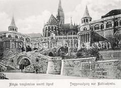 Historisches Foto von Budapest (ca. 1900); Treppenaufgang Mathiaskirche.