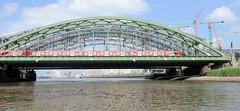 Blick auf die Freihafenelbbrücke über die Norderelbe in Hamburg Rothenburgsort / Hafencity - ein Zug der S-Bahn fährt auf der Brücke, re. Baukräne der Hafencity und die Haltestelle Elbbrücken.