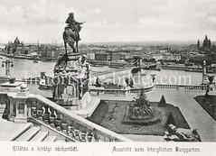 Historisches Foto von Budapest (ca. 1900); Aussicht vom Königlichen Burggarten.