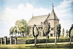 Altes Bild der Kirche St. Nikolai in (Hamburg) Moorfleet , errichtet 1680.
