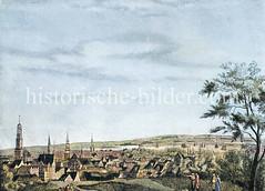 Blick vom Stintfang, ehem. Bastion Alberta auf Hamburg und die Elbe, ca. 1700.