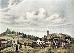 Anlegestelle der Fährverbindung nach Harburg am Jonas - re. die Anhöhe vom Stintfang, lks. das ehem. Hornwerk / Verteidigungsanlage Hamburgs (ca. 1825). Pferdedroschken warten auf Passagiere - zwischen den Elbhöhen der Kirchturm der St. Michaelis