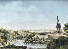 Blick auf die ehem. Bastion Bartholdus der Hamburger Verteidungsanlage, ca. 1800; 1841 wurde dort der Bahnhof der Bergedorfer Bahn errichtet, danach der Berliner Bahnhof beim Deichtorplatz.