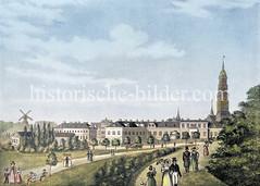 Grünanlage, ehem. Wallanlage in der Hamburger Neustadt; Blick beim Altonaer Tor zum Zeughausmarkt - lks. die Millerntorwache und die Windmühle auf der ehem. Henricus Bastion (ca. 1850).