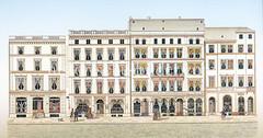Historische Ansicht von der vom Rathausmarkt in der Hamburger Altstadt - Neubauten nach dem Hamburger Brand von 1842.