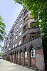 Denkmalgeschütztes Backsteingebäude an der Billhorner Brückenstraße in Hamburg Rothenburgsort; erbaut 1928, Architekt Willy Wegner.