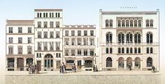 Historische Ansicht von der vom Neuen Wall  in der Hamburger Neustadt- Neubauten nach dem Hamburger Brand von 1842.