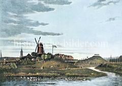 Ehem. Bastion Bartholdus mit Windmühle beim Deichtor - im Hintergrund die ehem. Bastion Sebastianus / Altmannshöhe, lks. davon das Johanniskloster am Klosterwall. Die Bastion Bartholdus wurde 1841 abgetragen.