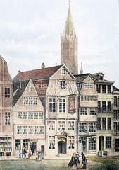 TIschleramtshaus in der Altstadt Hamburgs, ca. 1850 - Zunfthaus der Tischler; Übernachtungsmöglichkeit für wandernde Tischlergesellen - Zunftschild mit Tischlerwerkzeugen.