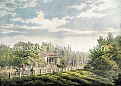 Das Dammtor bei der Hamburger Neustadt wurde 1817 abgebrochen; beim Sperrgitter, das Abends geschlossen wurde, steht das Wachhaus / Accisehaus - das Areal beim Dammtor wurde als Stadtbaumschule genutzt.