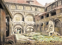 Ehem. Hühnerhof im Sankt Johanniskloster in der Hamburger Altstadt (1828) - das Klostergebäude wurde 1829 wg. Baufälligkeit abgerissen.