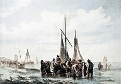 Krabbenfischer bei Ebbe an der Nordsee vor Cuxhaven.