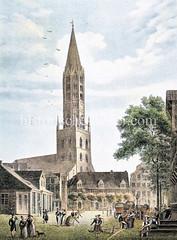 Pferdemarkt in der Hamburger Altstadt, ca. 1826; lks. die Hauptwache der Nachtwächter, re. Wagen mit Fuhrleuten - in der Bildmitte die St. Jacobikirche.
