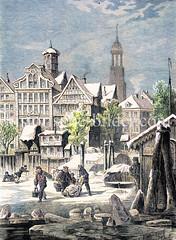 Blick über die vereiste Elbe zum Stubbenhuk / Vorsetzen, ca. 1870 - re. das schwimmende Zollhäuschen, im Hintergrund die Michaeliskirche.