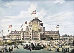 Moorweiden-Halle beim ersten allgem. Kriegerfest 1883 - die aus Glas und Eisen hergestellte Halle auf der Moorweide in Hamburg Rothenbaum wurde von der Pariser Weltausstellung 1881 angekauft; 1885 durch Feuer zerstört, 1890 abgerissen.