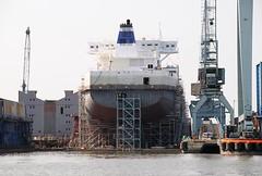 Schiffbau auf der Sietas Werft, Werftkräne. Direkt hinter dem Sperrwerk liegt an der Este die Schiffswerft Sietas KG. An einem der letzten Containerschiffsneubauten der Traditionswerft wird gerade gearbeitet - Gerüste sind um den Rumpf des Schiffs au