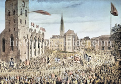 Bei dem Hamburger Brand von 1842 wurden große Teile der Hauptkirche St. Petri zerstört - erst am 7. Mai 1844 wurde mit einer Grundsteinlegung mit dem Wiederaufbau begonnen.