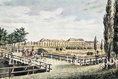Historische Ansicht vom Krankenhaus in der Hamburger Vorstadt St. Georg - Blick über den Bleichengraben zum 1823 errichteten Krankenhaus - Architekt Carl Ludwig Wimmel.