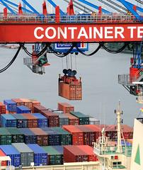 Fotos vom Hamburger Container Terminal Altenwerder; Entladung eines Containervessels im Hamburger Hafen. Die Ladung des Frachters wird über die Containerbrücken gelöscht. Einer der Container hängt an der Hauptkatze über dem Schiff.