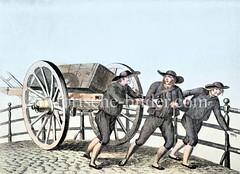 An einem  Kran arbeiteten der Kranführer, Kranzieher und Krahnträger. Die Kranzieher transportierten auf zweirädrigen Karren die Waren an ihren Bestimmungsort. Die Krahnzieher / Kraantrecker bildeten eine eigene Zunft.