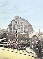 Hanfmagazin an der Elbe in Hamburg St. Pauli. Das Gebäude diente als Niederlage für Hanf und Flachs. Ursprünglich 1766 errichtet, 1808 von den Franzosen als Kaserne genutzt, dann ab 1812 als Werk- und Armenhaus, 1813 abgebrannt.