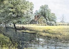 Brekelbaum's Park in Hamburg Borgfelde - Wiesen mit Gartenhäuschen und Entwässerungsgraben / Wettern, ca. 1870.