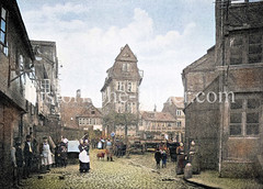 Historische Ansicht vom Bohnsplatz an der Ellertorsbrücke / Neuer Wall am Bleichenfleet in der Hamburger Neustadt, ca. 1875.