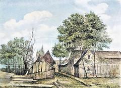 Caneeltwiete in Borgesch, 1873 - Gebiet um die Vorstadt St. Georg und Hammerbrook, das als Stadtweide genutzt wurde. Eine der Straßen wurde wg. der herumliegenden Hobelspäne Caneeltwiete genannt.