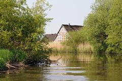 Die Este ist bis Buxtehude eine Bundeswasserstrasse. Bäume und Sträucher wachsen weit in den Fluss hinein - ein Fachwerkhaus steht am Deich.