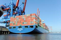 Fotos vom Hamburger Container Terminal Altenwerder; Heck eines Containerschiffs - Blick vom Köhlbrand zu einem der 4 Liegeplätze für Grossschiffe. Der Containerfrachter HYUNDAI GLOBAL mit Heimathafen London liegt am Ballinkai des HHLA Container Termi