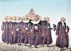 Die Mitglieder von Innungen und Gilden hatten ein Recht auf Bestattung durch die Innungsbrüder.  Die Leichenträger erschienen im langen Mantel, breitem Halskragen und Perücke.
