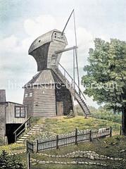 Die erhöhten Bastionen der Hamburger Befestigungsanlagen wurden als Stadtort für Windmühlen genutzt - hier die Bastion Henricus beim Millerntor; Abbruch 1878.