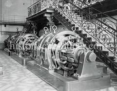 Historische Ansicht vom Maschinenraum im Kraftwerk Bullerdeich in Hamburg Hammerbrook.