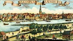 Blick von Steinwerder über die Elbe nach Altona, ca. 1745 - in der Bildmitte die Altonaer Hauptkirche St. Trinitatis, re. das Altonaer Rathaus..