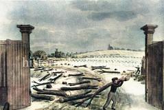 Historische Hamburg-Ansichten -  Blick durch das Berliner Tor, im Hintergrund die Hammerkriche; Zerstörung während der französischen Besatzung von 1806 - 1814 / Franzosenzeit.