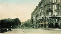 Altes Bild Bürgerweide im Hamburger Stadtteil Borgfelde - Etagenhäuser + Gaststätte, Kneipe; lks. die Wallstraße.